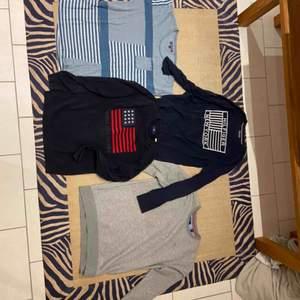 Har tyvärr växt ur mina märkeskläder och vill sälja vidare dem för ett mycket bra pris. Det är två Gant tröjor och två Tommy Hilfiger tröjor, en av Hilfiger tröjorna är T-shirt medans den andre är Gant tröjorna lik. 200 kr styck