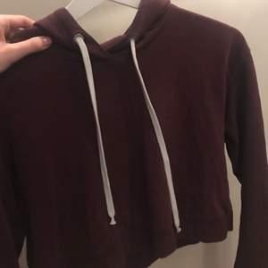 Vinröd/lila/brun hoodie i fint skick från h&m✨croppad, mysig luva samt vita snören att dra åt den med!