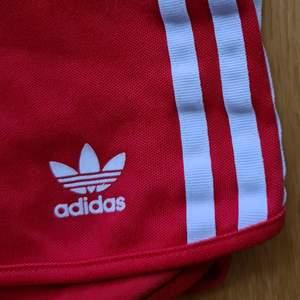 Röda, coola, retro shorts från adidas. Fint, men använt skick. Strl one size, men skulle säga att den passar en Xxs-S bäst