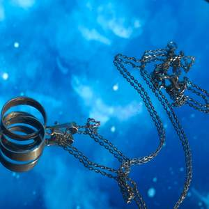 Säljer detta fina äkta silverhalsband med två ringar som sitter ihop som ett hänge. Säljes för 100 kr+frakt. Skickas bara.🤩❤️