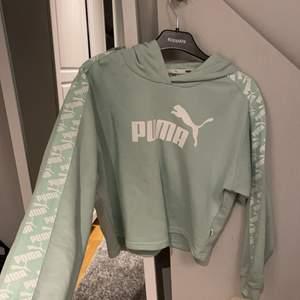 En grön blå hoodie från puma använt 1 gång då de inte är min stil