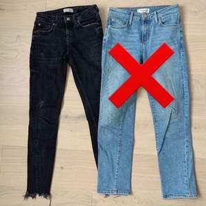 Säljer tajta lågmidjade svarta byxor från Zara! Man får sååå fina kurvor i dem.