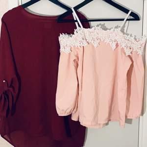 Den rosa är storlek okänd men är själv M och den passar bra. Rosa pris: 50kr Rödvin pris: 30kr