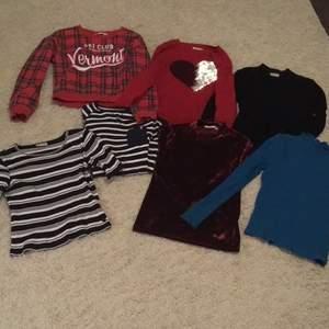7 sparsamt använda tröjor i barnstorlek 146/152. Paketpris 380. Stycke pris 80kr