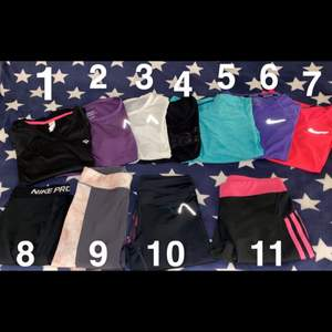 Träningskläder som inte används elr är oanvända🥰 1:oklart märke, sparsamt använd, XS. 2: Blacc, oanvänd, S. 3: Blacc, oanvänd, S. 4: Casall, oanvänd, XS. 5: Soc, oanvänd, XS. 6: Nike, oanvänd, XS. 7: Nike, sparsamt använd, XS. 8: Nike, sparsamt använd, XS. 9: Blacc, använd 3/4ggr, S. 10: Blacc, använd 2ggr, S. 11: Adidas, använd sparsamt, S. Säljs som paketpris för 800kr(dvs mindre än 70kr/plagg)🤗 eller hmu ifall du vill ha ngn speciell💜