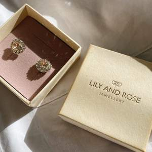 Rosa små gulliga öronhängen från Lily and Rose. Aldrig använda. Nypris 300 kr, säljer för 150 kr, frakt ingår.