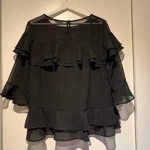 En svart blus med volanger på. Väldigt bra skick. Använd 1 gång Priset kan diskuteras, köparen står för frakten