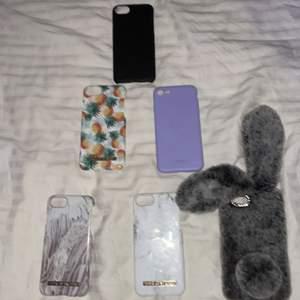 Alla passar till iPhone 8, priset går absolut att diskutera🥰   - svart (sålt) - fjädrar  - vit marmor - lila - ananasar - kanin