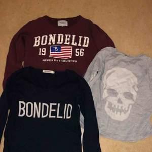 Två st bondelid tröjor i strl M- 50 kr/styck Grå tröja strl 160- 50 kr  Alla 3 för 100
