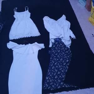 Klänningar olika sorter, storlekar xs-m, paketpris 150kr, styckepris ca 40 kr, eller kom med bud
