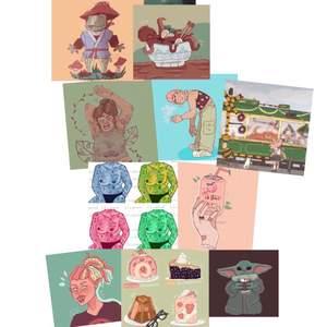 Här är några av alla mina illustrationer från mitt konst konto , artordraaw. Välj fritt från de kontot! 👍Det går att beställa både A4 prints och 10x15 prints (vykort ungefär). A4 70kr och liten 40kr. 🌸👍.                                                                                   Rabatt om man köper fler! 👍.                                     För mer följ min Instagram exd.design