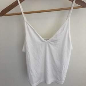 Säljer ett vitt linne från bikbok som inte går att köpa längre. Använd några gånger. Nypris 99 kr. Köparen står för frakten.