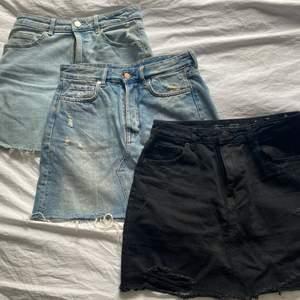 3 st jeans kjolar som är oanvända. Säljer då de inte kommer till användning. Storlekarna är M, 38, 40💓  säljer för 60 kr styck. Köparen betalar frakten😊