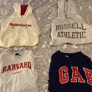 Jättefina och sköna hoodies och tröjor, i bra skick och sitter lite oversized. Alla för 800kr och en för 250kr