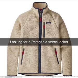 Looking for any kind of fleece jacket from Patagonia. Size women L, men M-L
