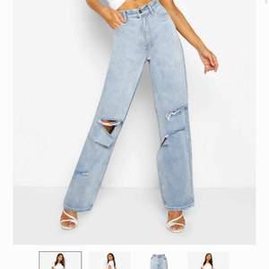 Jeans från Boohoo! Beställde storlek 40 och 42 pga var osäker med storleken, visade sig att de är helt normala i storleken så 42 blev för stort för mig. Är alltså aldrig använda 🌟 Verkligen snyggaste jeansen för våren:) Frakt tillkommer 💕