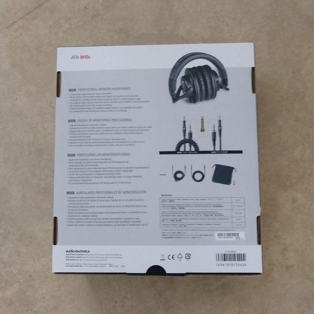 audio-technica ath-m40x. Oanvänd. Har inte packa upp i lådan.. Accessoarer.