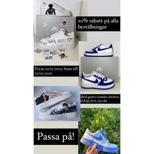 ⚡️Just nu erbjuder jag 10% rabatt på alla beställningar av custom skor (valfri design)!  🔥Gäller: från 20/12-2020 till 01/01-2021 💥Passa på medans erbjudandet gäller!    ⭐️Alltid gratis custom stickers på beställningar över 1500kr!   🌙(Priset och storleken på denna annons är endast ett exempel, inget fast pris)  ☄️Spårbar frakt 95kr! ☀️Kan mötas upp i Göteborg!  ✨Instagram: @customsbylisii