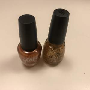 Two new nail polishes that go great together. There both new and unopened, one is a orange golden bronz nail polish and the other one is golden glitter nail polish.