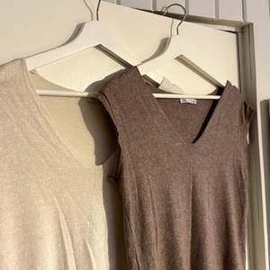 Två klippta västar från Zara, jättemjukt och skönt material! Storlek S i båda. Bud från 100kr exklusive frakt per styck 💜