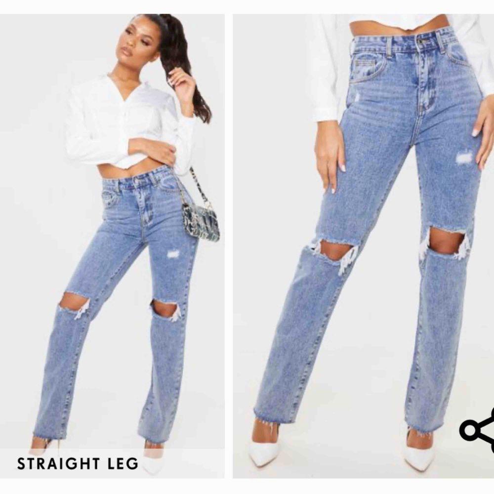 Trendiga jeans ifrån Prettylittlething. Aldrig använda, lappen är kvar. 😇  Dom är klippta där nere, se bild 3.. Jeans & Byxor.