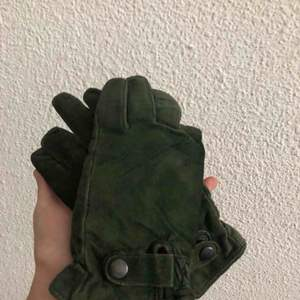 green suede / leather gloves Size M