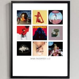 Jag säljer poster med album covers 💓 Man får bestämma vilket motiv man vill ha och hur postern ska vara uppbyggd 💓 (kan också göra med egna bilder om det önskas) 💓 finns i a4 eller a5, 110kr respektive 70kr 💓 Frakt tillkommer :)