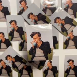 Säljer egengjorda klistermärken av Harry Styles. Klistermärkena har en glansig yta och är waterproof ✨ De kostar 15 kr styck och frakt tillkommer på 12 kronor 📦  Storlek: Längd: 7 cm Bredd: 5 cm 😍