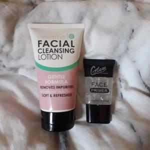 Rengöring för ansiktet och en primer båda endast testade, primern kostar 15 + 11 kr frakt och rengöringen kostar 25 + 44 kr frakt