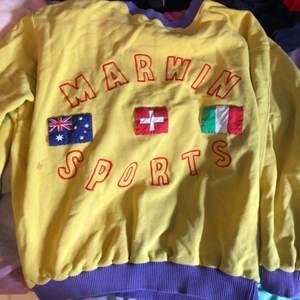 Snygg vintage oversized sweatshirt som är gul och ljuslila me tre flaggor på, väldigt bra skick aldrig använd av mig men köpt på second hand!