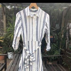 white and blue lines shirt dress