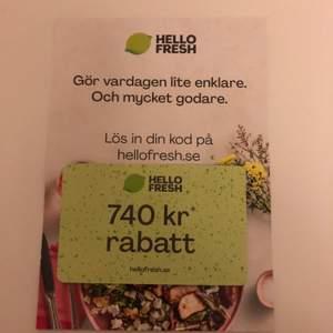 INTRESSEKOLL! Har en rabattkod på hello fresh där man får en matkasse gratis. Skriv ett pris!