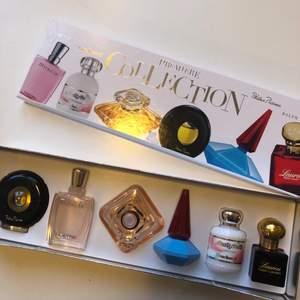 6 stycken mini parfymer från dyra märken. T.ex. Ralph Lauren, Palsha Picasso & Lancome Paris. Nästan helt oanvända. Orginal pris: 550kr, säljer för 200kr. Säljer då de inte används. Pris går att diskuteras. Frakt 44kr