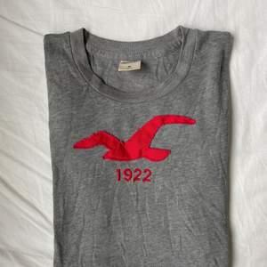 En grå kortärmad Hollister tröja. Väldigt tunn & skön, inte heller använt på ett tag. Passar även en s.