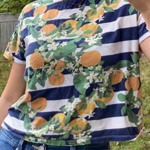 Häftig T-shirt från Zara trafaluc köpt i Portugal med apelsiner på, kommer tyvärr inte till användning men är i toppskick. Fraktkostnad tillkommer och betalas av köparen