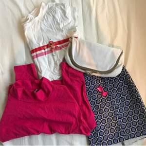 ingår: långärmad rosa långärmad från nelly, clutch från guess, supersöt thriftad kjol & två rosa butterfly clips. frakt tillkommer. <33 croptopen är såld så ignorera den.