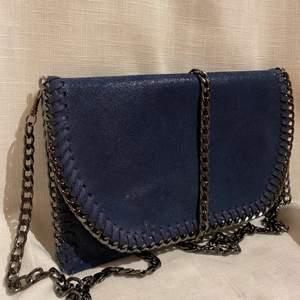 Väska i en skimrig marinblå färg. Köpt på marknad, aldrig använd. Man kan ta bort kedjan.