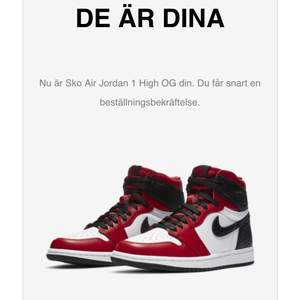 Vann precis dragningen för Satin Red Jordan 1s High. Slutsålda överallt. De är i storlek 38.5. Buda på!