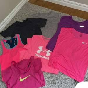 7st tränings toppar!!!! 2st linnen o 5st tröjor!!!! 100kr/st💜 Nike , Kari traa, under armour,