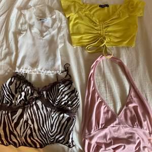 Säljer alla dessa 4 toppar för 150k +frakt nästan aldrig använt dom förutom den gula och den rosa och vita aldrig använt! 🥰 Går även att köpa en tröja!