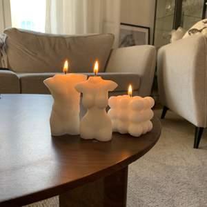 Handgjorda ljus av 100% återvunnet stearin. Ljusen göra på beställning 95kr/st! Kom ihåg att de är handgjorda så vissa olikheter kan förekomma, men alla ljus är fina på sitt vis! ✨