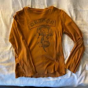 En superfin orange/brun tröja med tryck av text och drake. storlek onesize men är som S/M/L. Supercool och har nyskick. 150kr + frakt eller högsta bud🧡