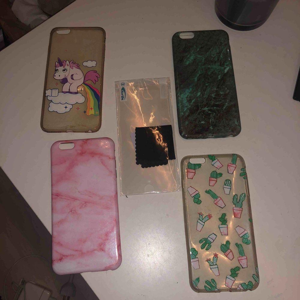 4 olika skal till iPhone 6plus och 1 skyddsplast. Skal: 10kr styck. Skyddsplast: 6kr Allt tillsammans: 30kr.  Frakt tillkommer. Accessoarer.