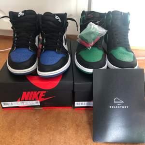 Säljer ett par pine greens (9-9,5-10) samt ett par royal toes som är rätt så slitna, därav priset (5-6/10). På pine greenerna finns skosnören i färgen svart ( de som e på) samt röd och grönt. Även kvitto och box finns. Royaltosen dock har jag inte mycket mer än bara skorna och boxen  Pine greens (44,5): 2700kr Royal toes (44): 2600kr  Köp båda: 5000kr exklusive frakt  Kan ta emot trades