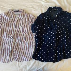 Två likadana blusar men med olika mönster från bershka. Är egentligen i M men har krympt till s. Frakt tillkommer