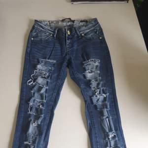 Slitna jeans med leopard detaljer🖤 limited edition🖤