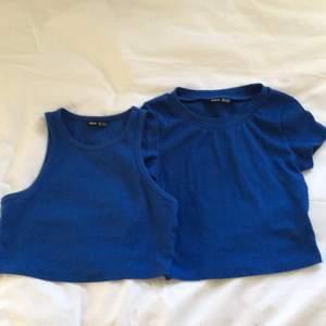 Jätte fina linnen i blå färg, ribbade fån SHEIN! Dom är i storlek XS men är väldigt stretchiga så passar en S också🥰 lägger ut igen då förra köparen var oseriös, skriv vid eventuella frågor💕
