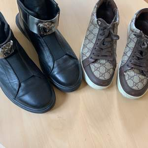 Versace (äkta) skor strl45, kvitto saknas och därav det billiga priset. Gucci skor strl 43