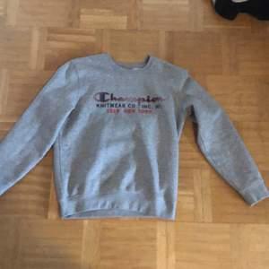 Grå sweatshirt från champion, köpt i new york, bra skick. Strl M