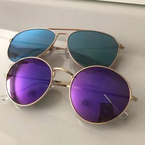 Jag säljer dessa två solbrillor som endast är använda en gång. De sitter bra och ger inga märken på näsan. 80 kr st för båda. Köparen står för frakten:)